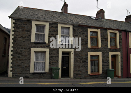Terraced houses South Wales Mining Town - Stock Photo