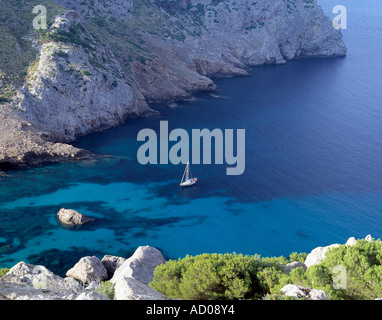 safe anchorage on a spanish island in the  mediterranean sea, - Stock Photo