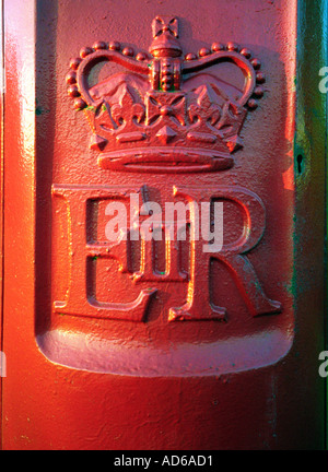 Crown symbol on British Royal Mail pillar box - Stock Photo
