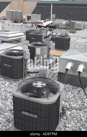 Roof Top Air Conditioners On Commercial Building, Baltimore Maryland USA - Stock Photo