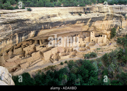 People in Cliff Palace Mesa Verde Colorado USA - Stock Photo