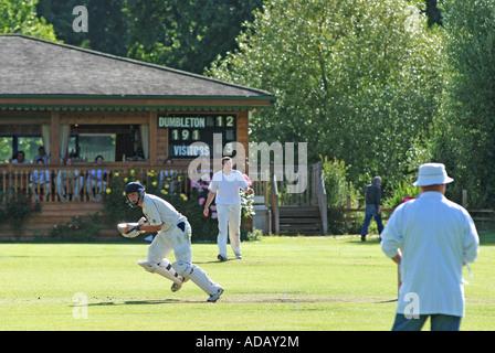 Village cricket at Dumbleton, Gloucestershire, England, UK - Stock Photo