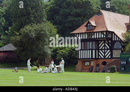 Cricket Team - Tilford Green - Surrey - UK - Stock Photo