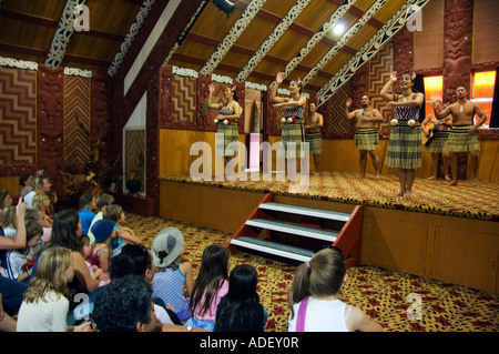 New Zealand North Island Taupo Volcanic Zone Rotorua A Cultural Show held inside a Maori Meeting House - Stock Photo