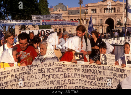 Argentinean mothers, madres de la Plaza de Mayo, protesting, protest march, Plaza de Mayo, city of Buenos Aires, - Stock Photo