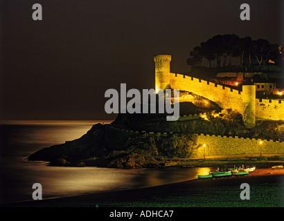 Moonlight on Tossa de Mar Castle in Girona Province of Spain - Stock Photo
