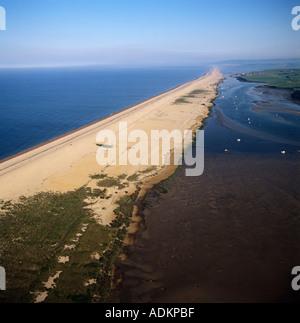 Chesil Beach with lagoon Weymouth Dorset UK aerial view - Stock Photo