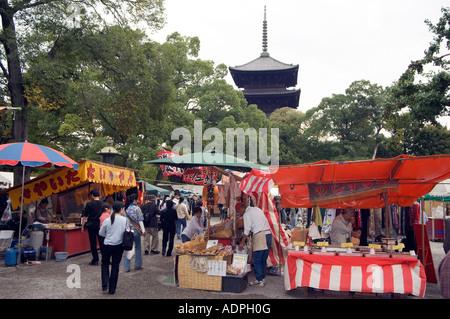 toji temple monthly flea market toji pagoda in background Kyoto Japan Asia - Stock Photo
