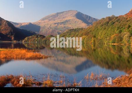 Moel Hebog and Llyn Dinas Beddgelert Snowdonia Gwynedd North West Wales UK - Stock Photo