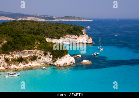 View of the northeast coast of Anti-Paxos from taverna above Voutoumi Beach, Anti-Paxos, Ionian Islands, Greek Islands, - Stock Photo