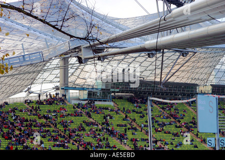 Waiting for the game to begin at the main stadium Olympic Park Munich Bavaria Germany - Stock Photo