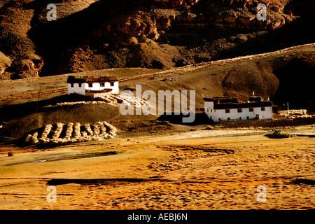 View of village Langza fields in Spiti Valley, Kaza Himachal Pradesh India - Stock Photo