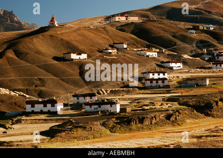 View of village Langza in Spiti Valley, Kaza Himachal Pradesh India - Stock Photo