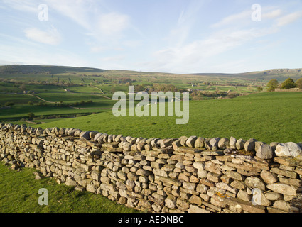 Dry Stone Wall Wensleydale North Yorkshire England - Stock Photo