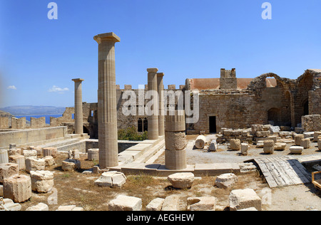 Inside the acropolis Lindos Island of Rhodes Greece - Stock Photo