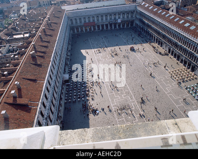 elevated view of st marks marcs square in venice - Stock Photo