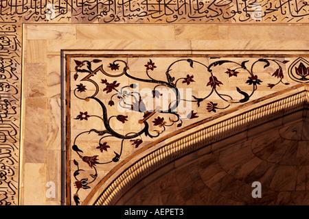 Detail of the Taj Mahal, Uttar Pradesh, India - Stock Photo