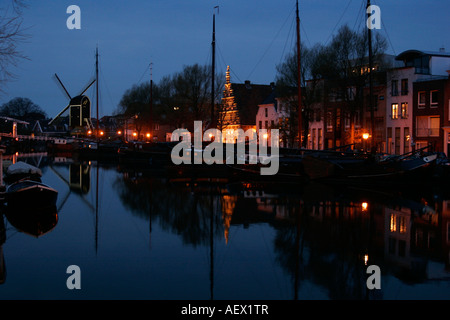 canal in Leiden at night Netherlands - Stock Photo