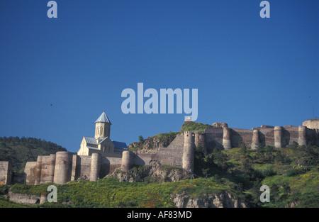 Narikala fortress St Nicholas church Tbilisi Georgia - Stock Photo