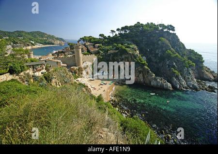 Costa Brava, View of the Upper Town at Tossa de Mar Costa Brava, Catalonia Spain - Stock Photo