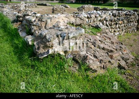 Remains of Roman Settlement, Caister-on-Sea, Norfolk, UK - Stock Photo