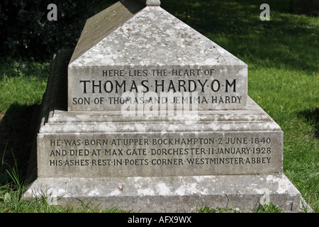 The grave containing the heart of  novelist Thomas Hardy at Stinsford near Dorchester in Dorset - Stock Photo