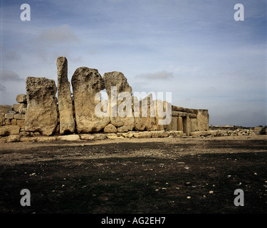 travel /geography, Malta, buildings, Hagar Qim temple, forecourt, orthostats, circa 3200 - 2500 B.C., historic, - Stock Photo