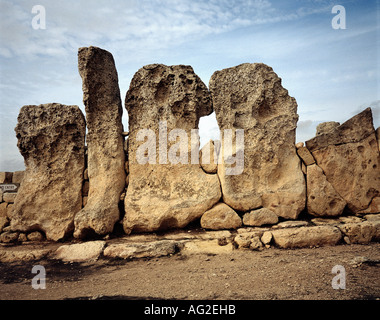 travel /geography, Malta, buildings, Hagar Qim temple, outer wall, circa 3200 - 2500 B.C., historic, historical, - Stock Photo