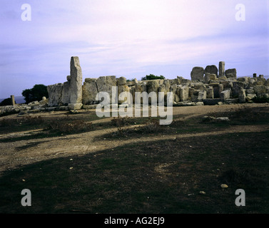 travel /geography, Malta, buildings, Hagar Qim temple, outer wall, menhir, circa 3200 - 2500 B.C., historic, historical, - Stock Photo