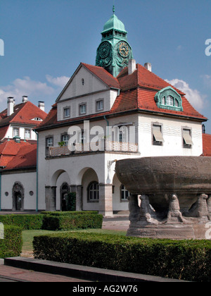 building in Jugendstil in the style of art nouveau in the cur treatment facilities of Bad Nauheim Hessen Hassia - Stock Photo