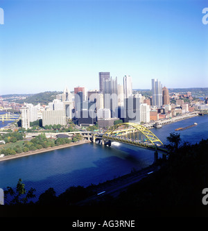geography / travel, USA, Pennsylvania, Pittsburgh, city views / cityscapes, Duquesne Incline, skyline, Fort Pitt - Stock Photo