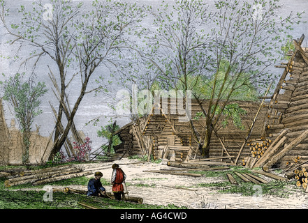 Russian village on the banks of the Volga River. Hand-colored woodcut - Stock Photo