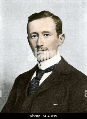 Portrait of Guglielmo Marconi. Hand-colored halftone of a photograph - Stock Photo