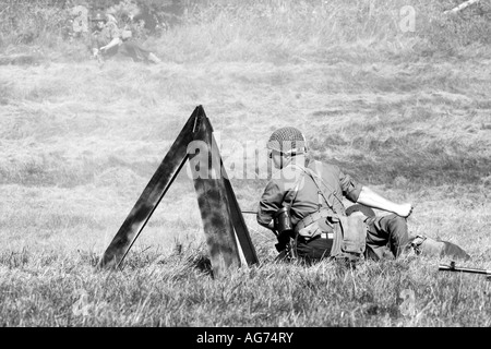 American Infantry in combat in Normandy France 1944 - Stock Photo