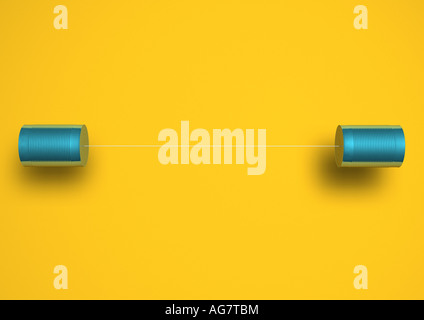 Phone made from cord and tin cans Dosentelefon - Stock Photo