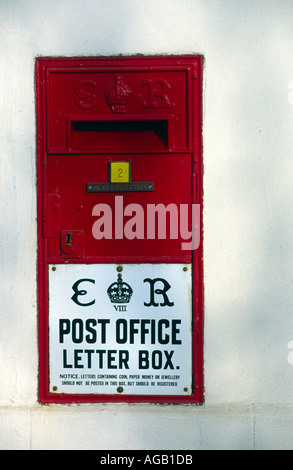 Edward VIII 8th thought to be the only wall mounted post box for this king Suffolk England - Stock Photo