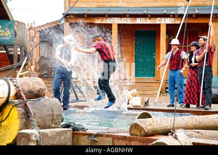 The Great Alaskan Lumberjack Show Ketchikan Alaska - Stock Photo