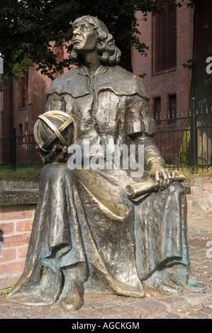 Nicolaus Copernicus metal statue in Olsztyn Allenstein Masuria Poland - Stock Photo