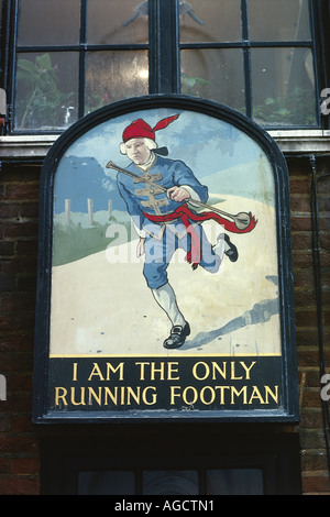Pub sign for the I am the only running footman public house - Stock Photo