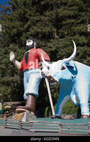 Paul Bunyan and Babe the Blue Ox at the Trees of Mystery Klamath California - Stock Photo