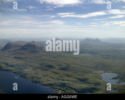 Quinag and Suilven, in the North West Highlands of Scotland, shot from the air - Stock Photo