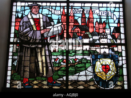 stained glass window Martin Luther Lutheran church Bad Toelz Bavaria Germany - Stock Photo