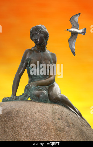 The Little Mermaid in Copenhagen, the symbol of Denmark - Stock Photo