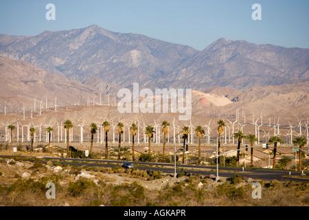 A wind farm in the San Gorgonio Mountain Pass in Palm Springs California - Stock Photo