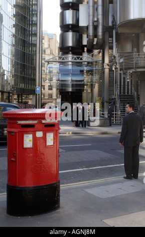 English Post Box and City Gent near the Lloyds Building London September 2007 - Stock Photo