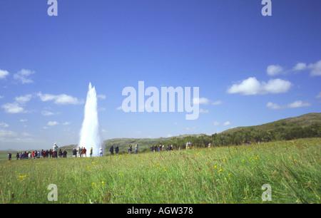 Geyser Strokkur Iceland - Stock Photo
