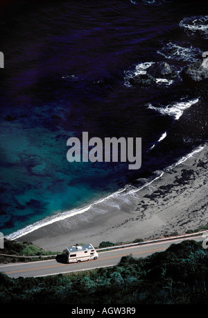 An RV on Highway One along Big Sur coastline - Stock Photo