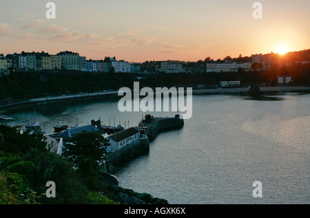 Sunset over Tenby Bay - Stock Photo