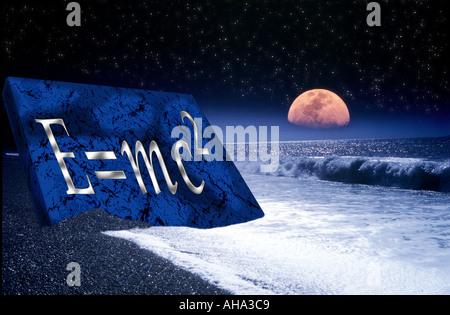 Large moonrise over waves breaking deserted beach star lit sky Albert Einstein equation E=mc2 carved burnt into - Stock Photo