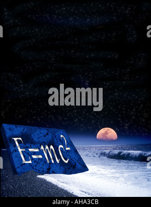moonrise over waves breaking deserted beach with star lit sky Albert concept Einstein equation E mc2 burnt into - Stock Photo